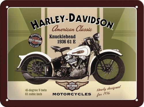 harley davidson knucklehead 1936 61 e small embossed metal signs
