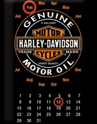 HARLEY DAVIDSON MOTOR OIL CALENDAR MEDIUM 3D TIN SIGN