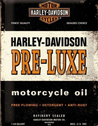 HARLEY DAVIDSON PRE-LUXE MOTORCYCLE OIL MEDIUM 3D TIN SIGN