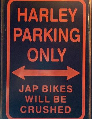HARLEY PARKING JAP BIKES RUSTY TIN SIGN