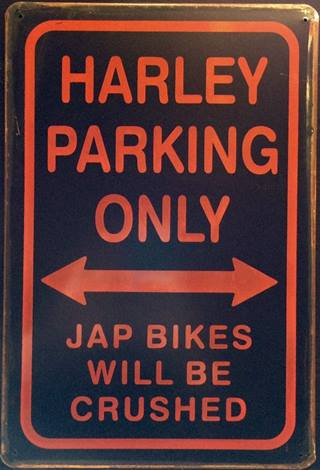 HARLEY PARKING ONLY RUSTY TIN SIGN