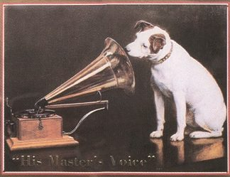 HIS MASTER'S VOICE LARGE METAL SIGNS