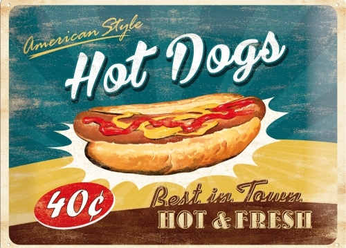 HOT DOGS AMERICAN STYLE METAL SIGN