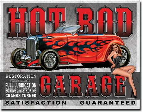 HOT ROD GARAGE LARGE METAL SIGNS