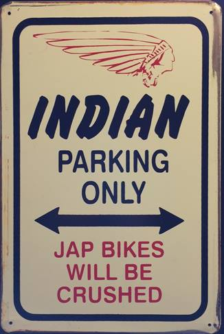 INDIAN PARKING RUSTY TIN SIGN