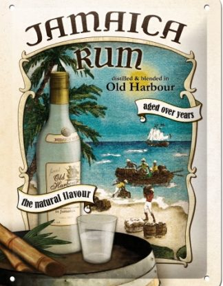JAMAICA RUM AGED OVER YEARS SMALL EMBOSSED METAL SIGNS