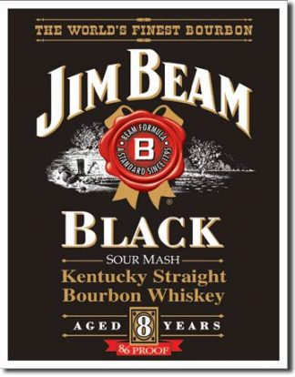 JIM BEAM BLACK LABEL LARGE METAL SIGNS