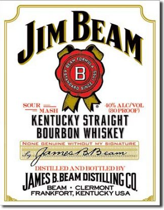 JIM BEAM WHITE LABEL LARGE METAL SIGNS
