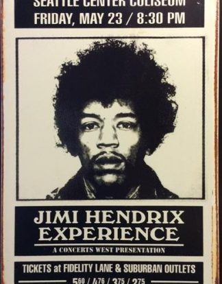JIMMY HENDRIX EXPERIENCE SEATTLE RUSTY TIN SIGN