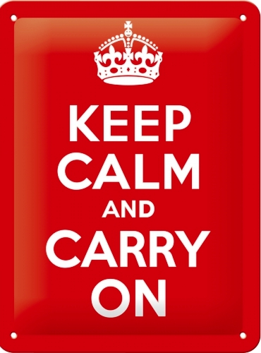 KEEP CALM AND CARRY ON SMALL EMBOSSED METAL SIGNS