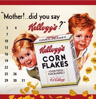 KELLOGG'S CORNFLAKES CALENDAR MEDIUM SIZE METAL SIGNS