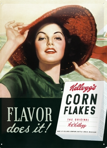 KELLOGG'S FLAVOR DOES IT ! LARGE METAL SIGNS