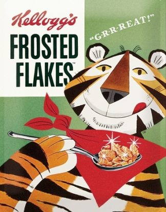"""KELLOGG'S FROSTED FLAKES G-R-R-REAT"""" ! LARGE METAL SIGNS"""