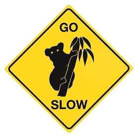 KOALA GO SLOW LARGE METAL SIGNS