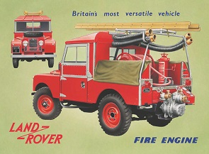 LANDROVER FIRE ENGINE LARGE METAL SIGNS