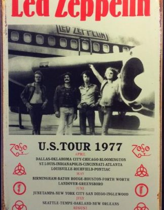 LED ZEPPELIN PLANE  USA TOUR 1977 RUSTY TIN SIGN