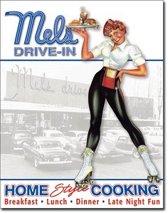 MELS DRIVE-IN HOME STYLE COOKING LARGE METAL SIGNS