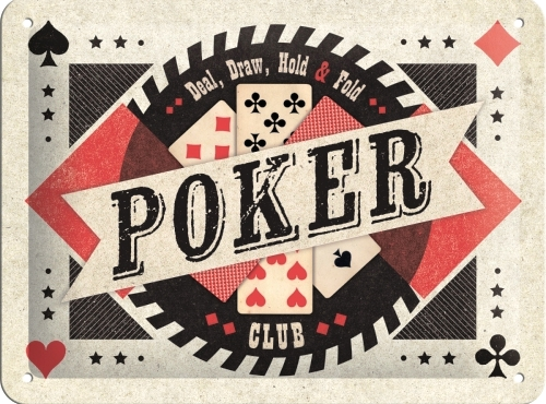POKER SMALL EMBOSSED METAL SIGNS