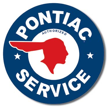 PONTIAC SERVICE ROUND LARGE METAL SIGNS