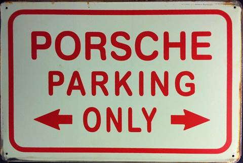 PORSCHE PARKING RUSTY TIN SIGN