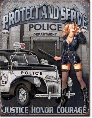PROTECT AND SERVE LARGE METAL SIGNS