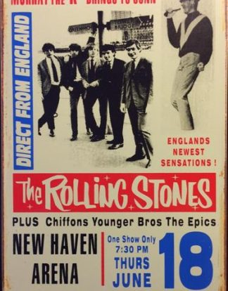 ROLLING STONES CONCERT NEW HAVEN RUSTY TIN SIGN