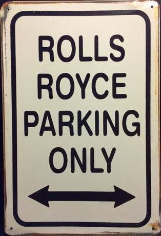 ROLLS ROYCE PARKING RUSTY TIN SIGN