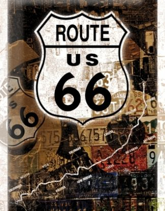 ROUTE 66 CAR LICENCE PLATES MEDIUM SIZE METAL SIGNS