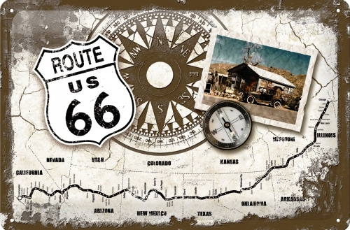 ROUTE 66 COMPASS MEDIUM SIZE METAL SIGNS