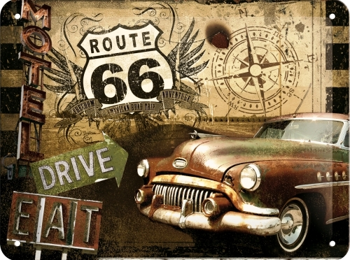 ROUTE 66 DRIVE SMALL EMBOSSED METAL SIGNS