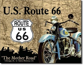 ROUTE 66 INDIAN BIKE LARGE METAL SIGNS