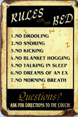 RULES OF BED RUSTY TIN SIGN