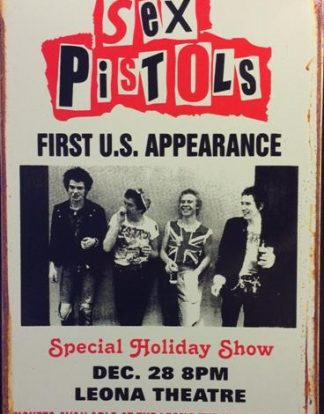 SEX PISTOLS FIRST USA CONCERT RUSTY TIN SIGN