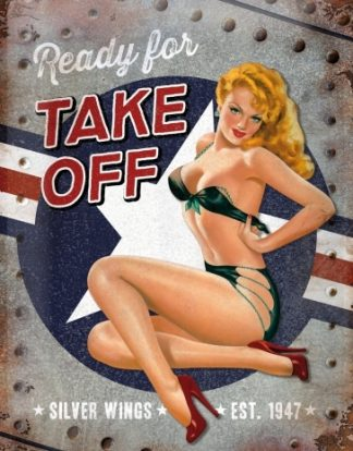 SILVER WINGS READY FOR TAKE OFF METAL SIGN
