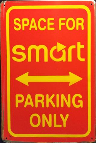 SMART SPACE FOR SMART PARKING ONLY RUSTY TIN SIGN