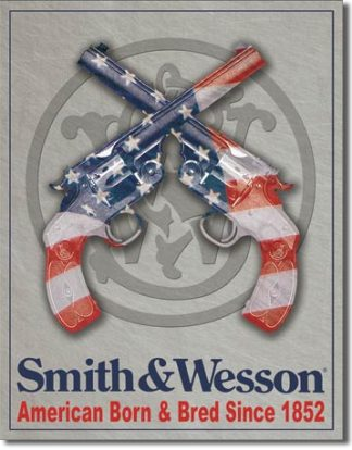SMITH & WESSON BORN & BRED SINCE 1852 LARGE METAL SIGNS