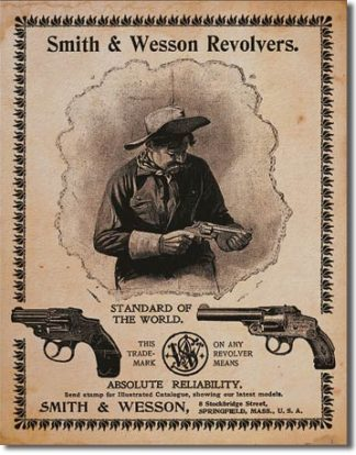 SMITH & WESSON REVOLVERS.STANDARD OF THE WORLD LARGE METAL SIGNS