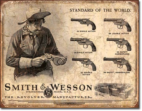 SMITH & WESSON STANDARD OF THE WORLD LARGE METAL SIGNS