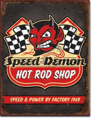 SPEED DEMON HOT ROD SHOP LARGE METAL SIGNS