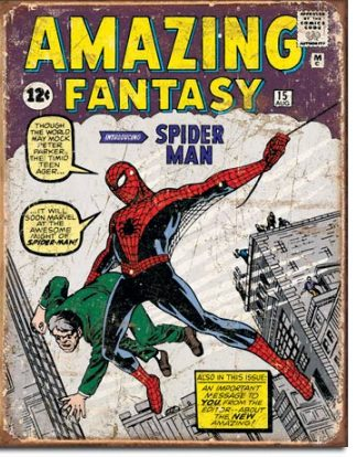 SPIDERMAN COMIC COVER LARGE METAL SIGNS