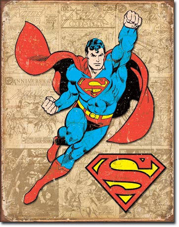 SUPERMAN WEATHERED PANELS LARGE METAL SIGNS