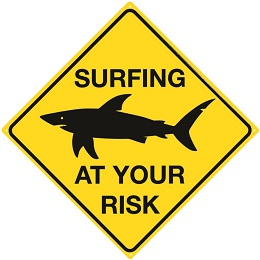 SURFING AT YOUR RISK SHARK LARGE METAL SIGNS