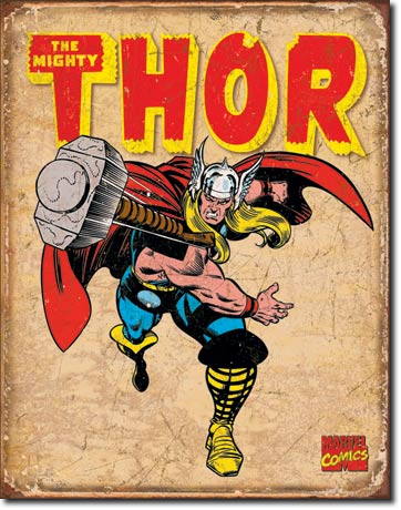THOR RETRO THE MIGHTY SUPER HERO LARGE METAL SIGNS