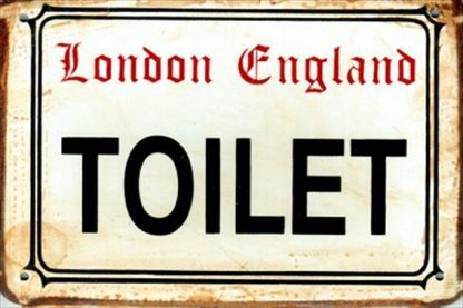 TOILET RUSTY TIN SIGN
