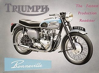 TRIUMPH BONVILLE FASTEST PRODUCTION ROADSTER LARGE METAL SIGNS