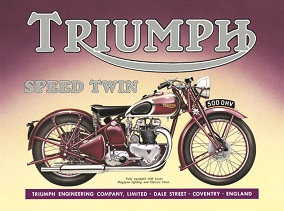 TRIUMPH SPEED TWIN COVENTRY ENGLAND LARGE METAL SIGNS