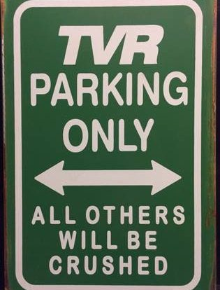 TVR PARKING RUSTY TIN SIGN