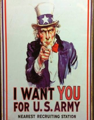 UNCLE SAM I WANT YOU FOR US ARMY RUSTY TIN SIGN