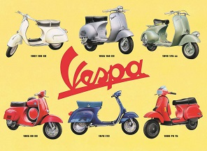 VESPA COLLAGE LARGE METAL SIGNS