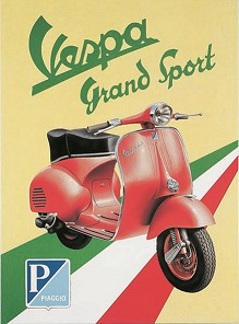 VESPA GRAND SPORTS LARGE METAL SIGNS
